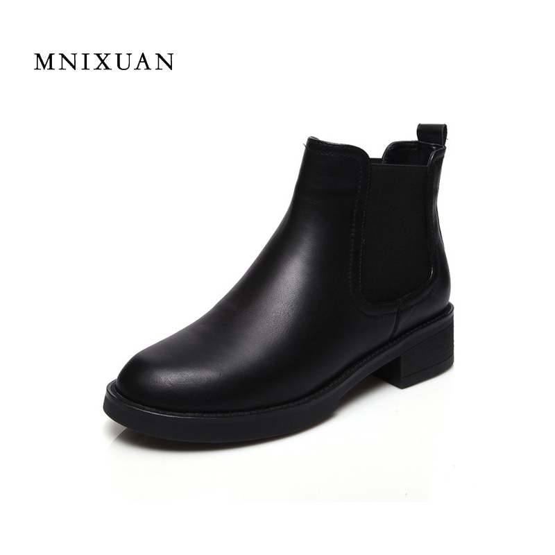 Women shoes boots spring 2017 autumn chelsea ankle boots real leather handmade thick medium heels round toe ladies martin shoes women ultrathin lace top sheer thigh high silk stockings fashion style new gh