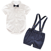 Fashion Summer Baby Boys Clothing Sets Short Sleeve Shirt Suspender Shorts Overalls Newborn Infant Boys Gentleman