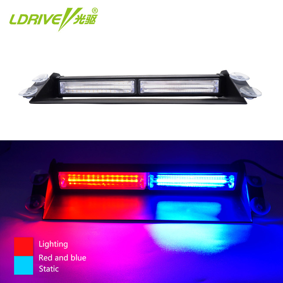 LDRIVE 1PC 12V-24V LED COB Windscreen Warning Police Strobe Light Emergency Vehicle for Car Windshield Red Blue Amber Yellow