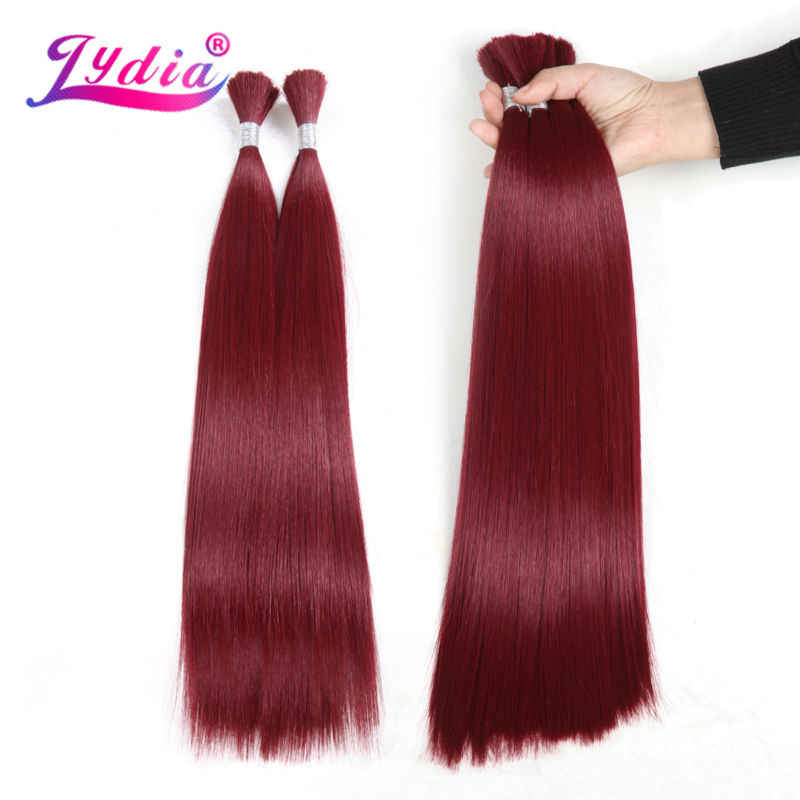 "Lydia For Women Long Straight Hair Bundles 18""-26"" Pure Color Crochet Bulk Synthetic Braiding Hair Extensions"