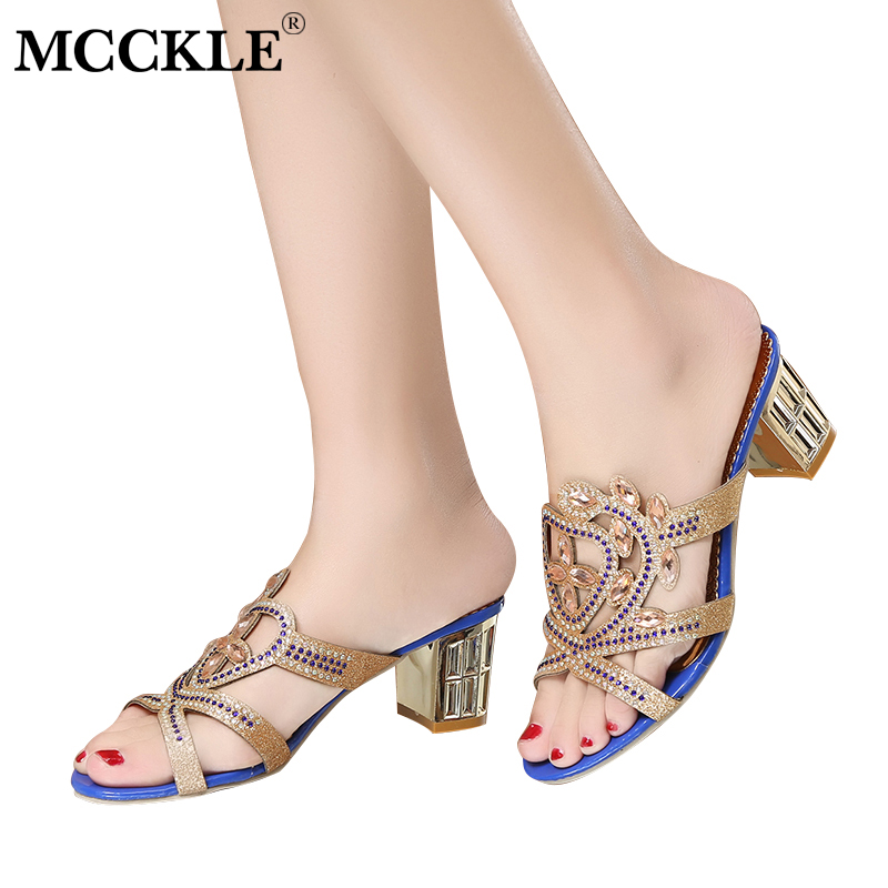 MCCKLE Women Summer Beach Slippers 2018 Fashion Ladies Butterfly Crystal Square Heel Party Dress Shoes Woman Sexy High Heels