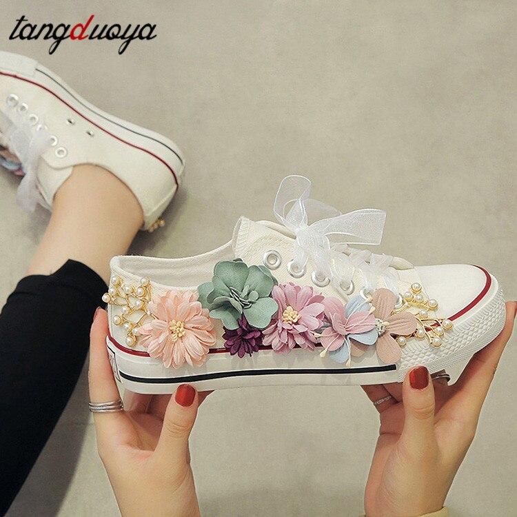 White Black Sneakers Women Casual Shoes Comfortable Flats Shoes Women Platform Canvas Shoes Sneakers Flowers Zapatos De Mujer