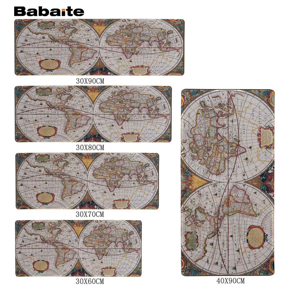 Babaite Retro Mapa Sveta Speed Gaming Edition Mouse Pad 900 * 300mm XL Edge of Locking Mouse Pad for Laptop Dota