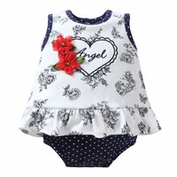 Newborn Baby Girl Romper Baby Romper Floral Letter Heart Ruffle Baby Girl Clothes Summer 2017 Infant