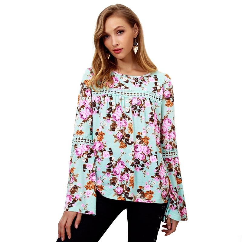 2018 New Women Autumn T-shirts O-neck Long Sleeve Natural Waist Printed Flora Shirts Long Sleeve Shirt Women Camiseta Feminina