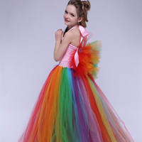 Rainbow Pony Unicorn Fluffy Tutu Dress for Kids Girl Floor Flower Girl Wedding Tulle Wings Dress Baby Girl Clothes for Halloween