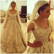 Most Exquisite Floral Shining Luxury Heavy Beading Pearl Long Train Gorgeous Bridal Wedding Dresses vestido de noiva sereia 810