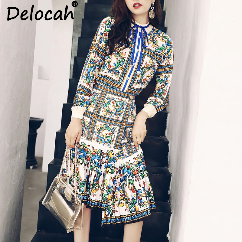 Delocah Autumn Women 2 Two Pieces Set Fashion Designer Long Sleeve Printed Shirt and Vintage Asymmetrical