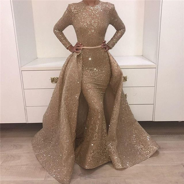 New Elegant Long   Evening     Dress   2019 High Neck Long Sleeves Overskirt Floor Length Beading Sequined Prom   Dresses     Evening   Gowns