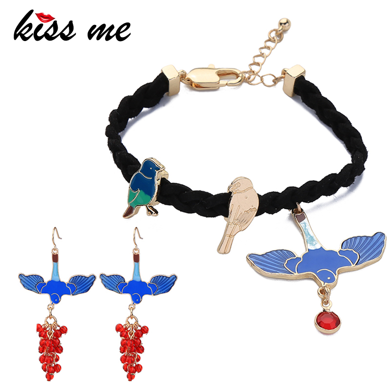 KISS ME Enamel Jewelry Sets Hand Made Weave Rope Chain Charm Bracelet Flying Bird Acrylic Beads Drop Earrings Set 2018