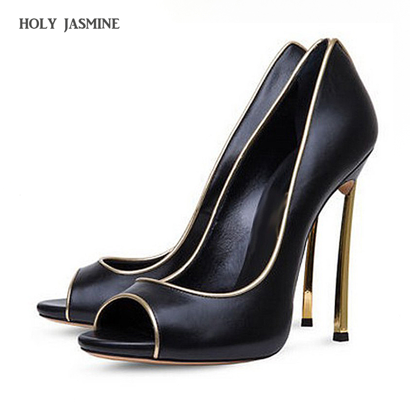 2017 summer peep toe extreme high heels sexy pumps ladies leather dress shoes for women plus size 12cm black red nude Stiletto plus size 34 49 new spring summer women wedges shoes pointed toe work shoes women pumps high heels ladies casual dress pumps
