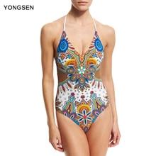 YONGSEN Women Bandage One Piece Swimwear Monokini One-Piece Swimsuit Letter Printing High Cut Bathing Suit
