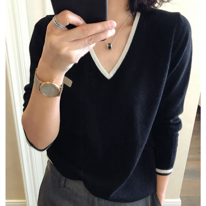 2019 High Quality Cashmere Sweater Women Autumn Pullover Solid Knitted V-neck Sweater Outerwear Tops Female Fashion Sweater 23