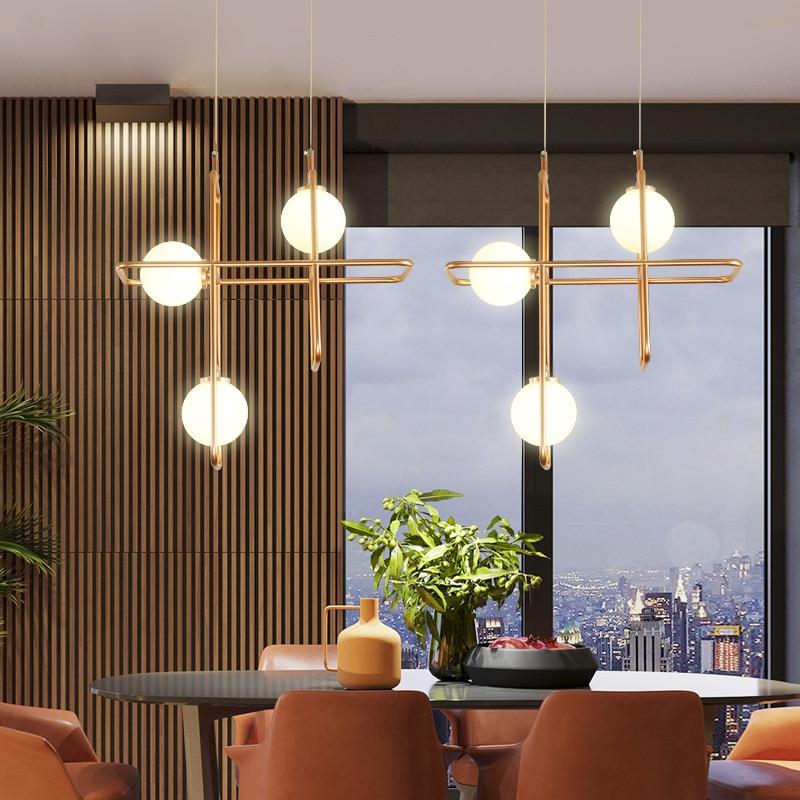 Modern LED pendant lights living room suspended lamp Nordic dining room loft lighting fixtures Glass ball hanging lights in Pendant Lights from Lights Lighting