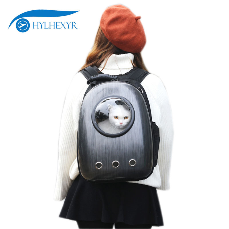 Hylhexyr Capsule Shaped Cat Dog Pack Pet Knapsack Travel Portable Backpack Space Bag Breathable