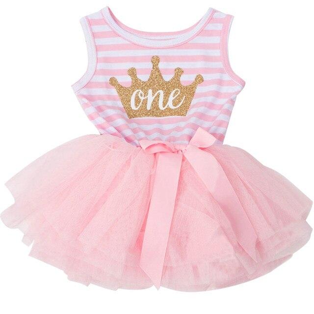 f6e811ab7db Новая золотая корона Детские платья для новорожденных Одежда для девочек  летние 1 год праздничное платье для