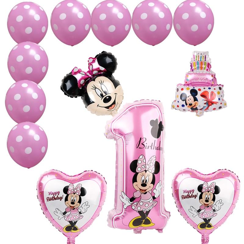 С рисунком Микки и Минни воздушный шарик из фольги в форме 1st День рождения украшения Дети клипсы для воздушных шаров, номер 1 globos точка латек...