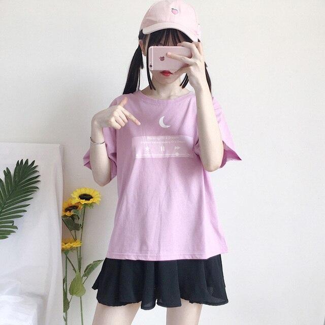 3a24aca4 Cute Moon Friends T shirt IG Hot Korean Ulzzang Style Pink Top for Girls  Women Aesthetic