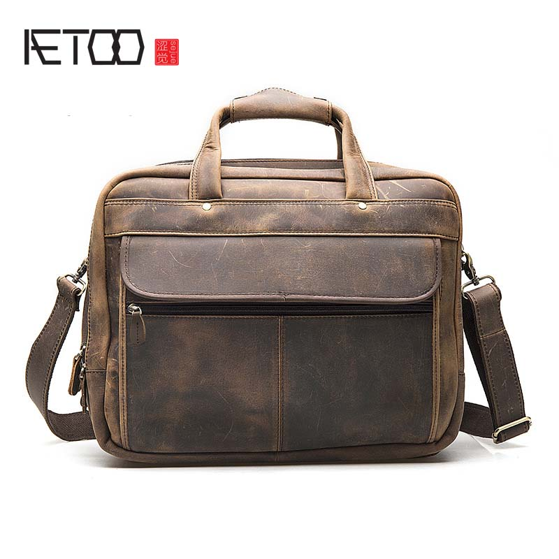 AETOO The first layer of crazy horse cowhide leather Foreign trade European and American retro men's 16-inch business laptop com спортивная футболка foreign trade and exports ni ke