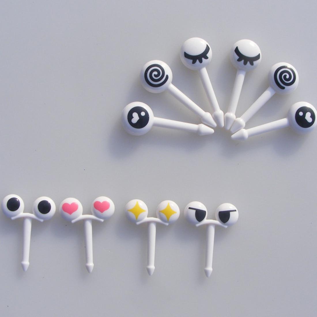 Pop 10PCs/ Lot Cute Plastic Fruit Toothpick Lovely Eye Cartoon Forks Bento Decorative Tableware Food Picks Fish Fork Dessert