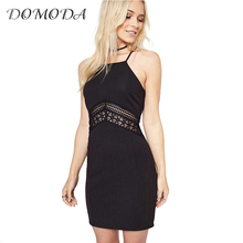 DOMODA Sexy Cut Out Sleeveless Mini Dress Black Sweet Casual Slim Women Vestidos Crochet Halter Cami Strap Female Dresses