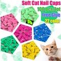 100 шт./лот, мягкие колпачки для кошачьих когтей, для домашних животных, Силиконовая защита для когтей, лапы без клея, размер XS S M L