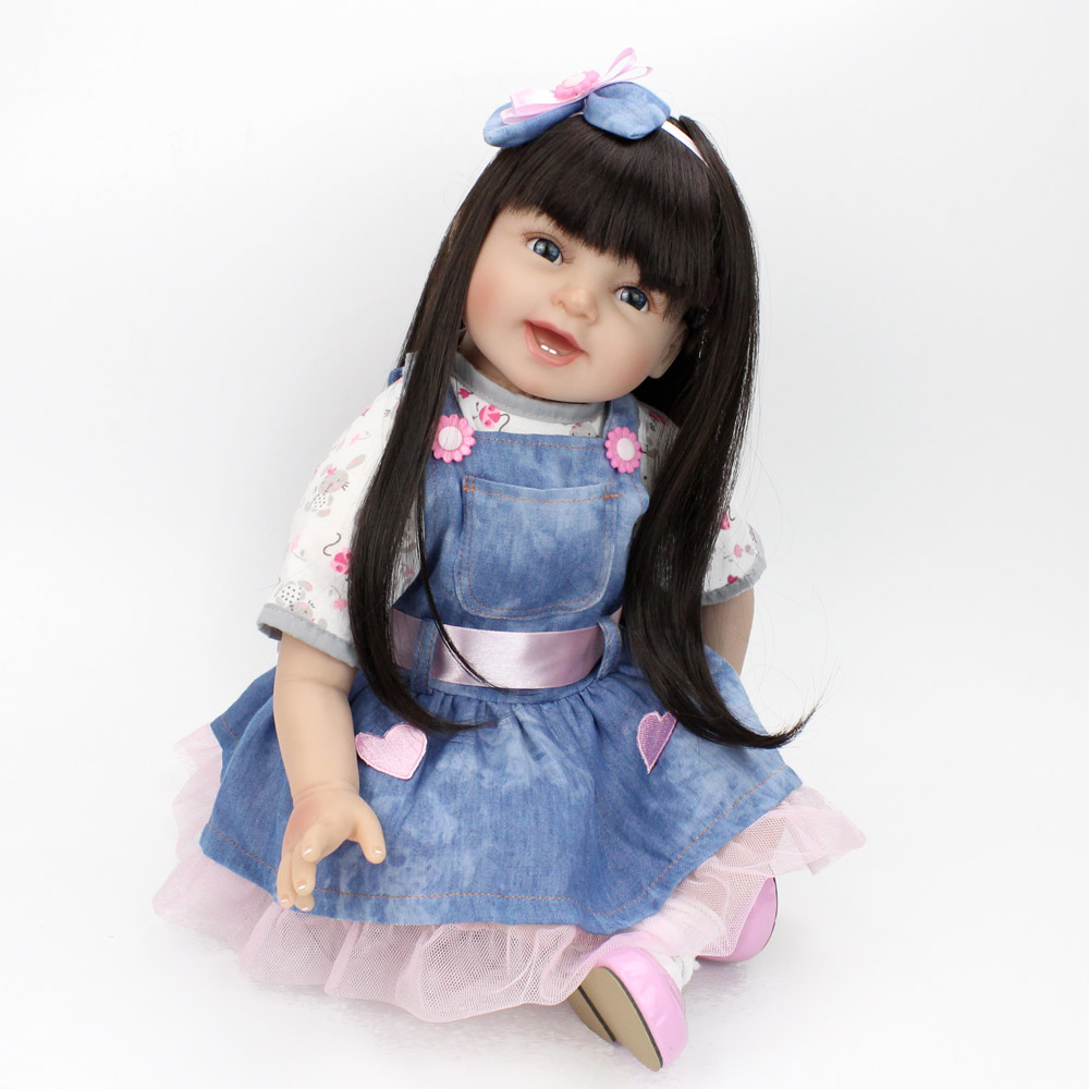 NPKDOLL Reborn Doll Baby Gentle Girl Smile Face Long Black Hair wigs Educational Playmate 22 inch for Kids Beautiful Friend Gift
