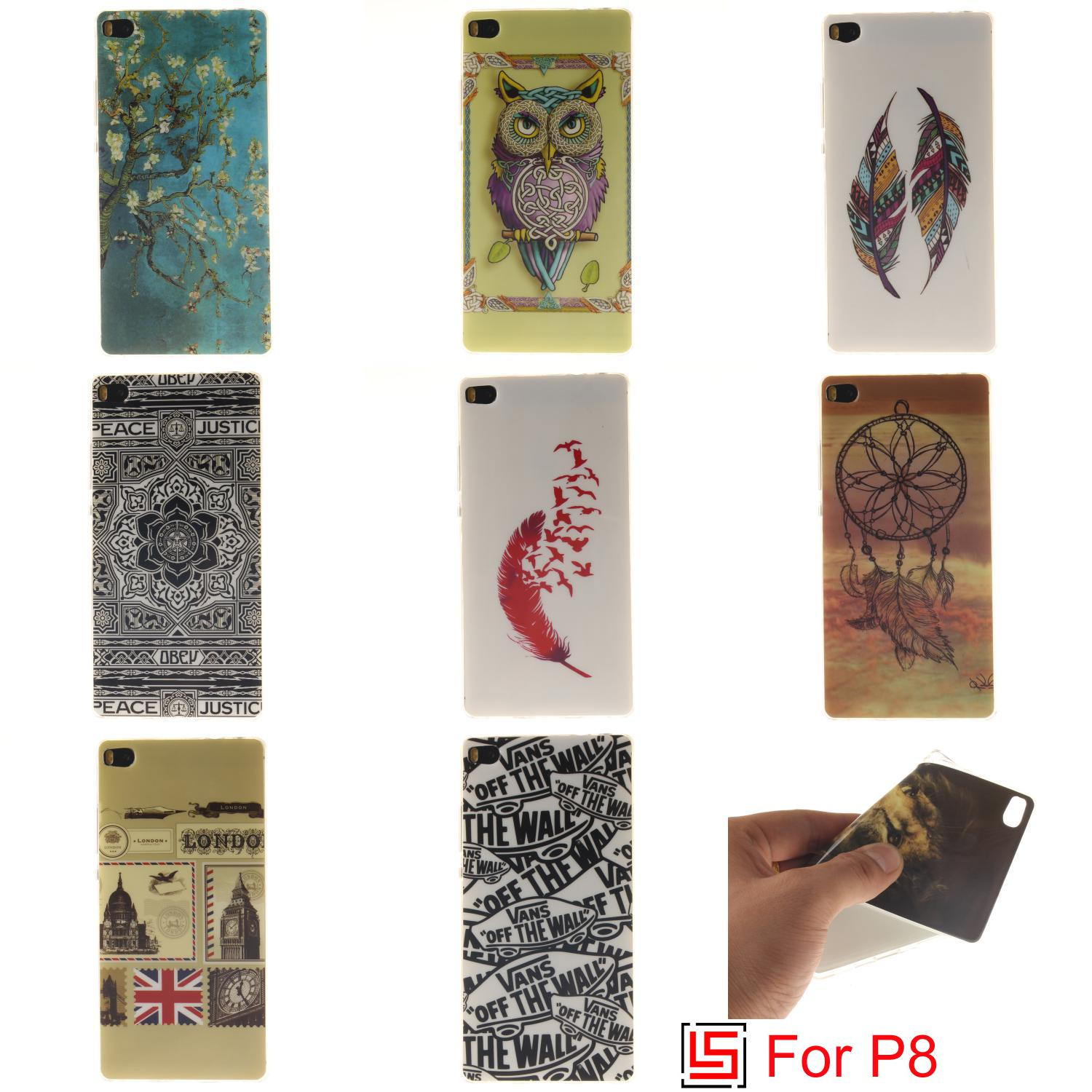 Cheap Best Ultra Thin TPU Silicone Soft Phone Cell Case etui caso Cover Cove Bag For Huawei P8 Dandelion Flower Dreamcatcher