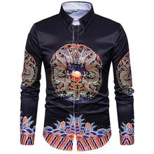 Black color casual shirt New male 3D stereo dragon robe printing Retro Symmetric men fashion long sleeved Shirt dress EU/US size
