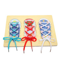 Wooden Threading Board Early Learning Toy Kids Hand Eye Coordination Skill Exercise Lace Up Shoes Toy