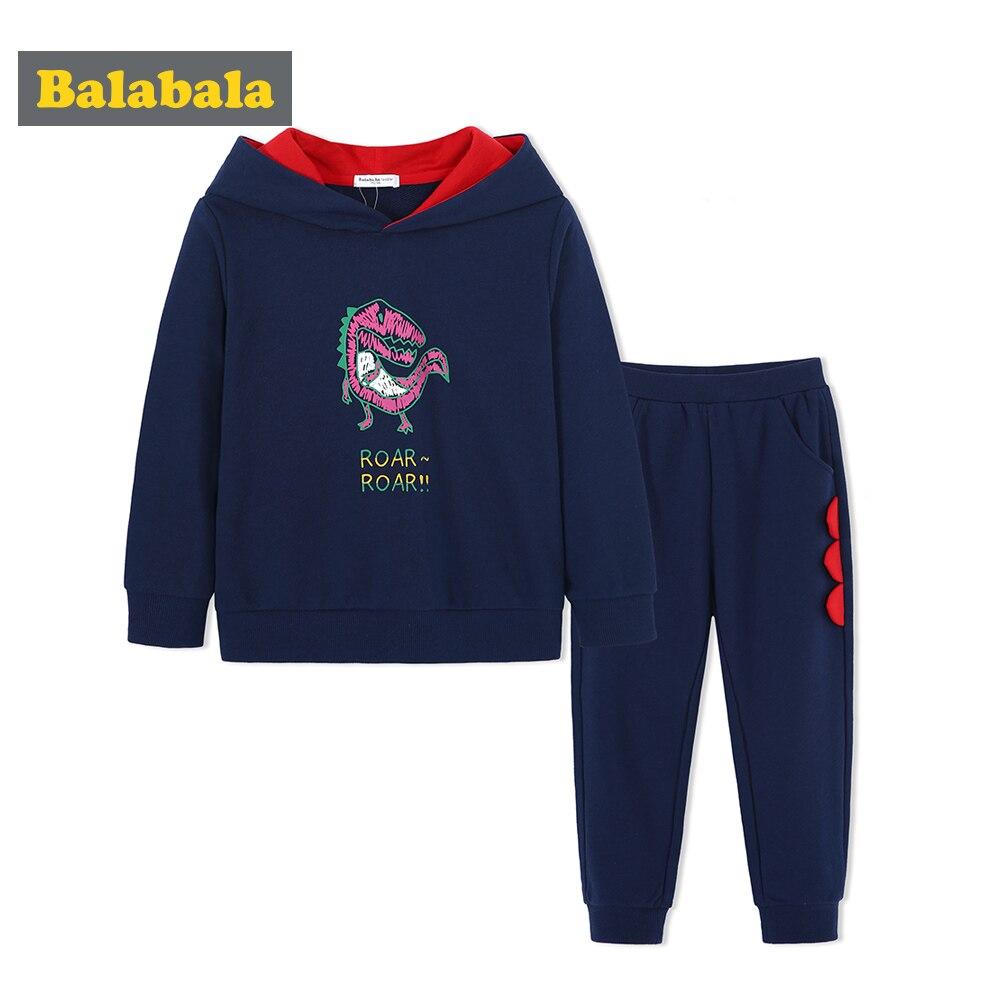 Balabala Toddler Boys 2-Piece 3D Dinosaur Sweatshirt Clothes Set Children Kids 2-Piece Hooded Sweatshirt + Sweatpants Set in Sof sweatshirt