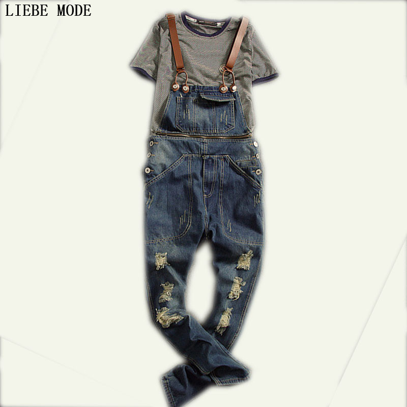 Mens Denim Bib Overalls Vinatge Coverall Long Rompers Pants Hole Casual Fashion Sexy Men's Torn Denim Jumpsuit With Suspenders 2015 new mens suspenders jeans fashion distrressed casual extended denim hole pants men overalls bib detachable trousers mb391