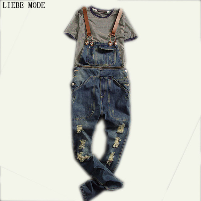72ffb76bbff Mens Denim Bib Overalls Vinatge Coverall Long Rompers Pants Hole Casual  Fashion Sexy Men s Torn Denim Jumpsuit With Suspenders