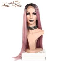 Suri Hair 30inche long straight Synthetic Lace Front Wig Ombre Pink black Roots Heat Resistant Fiber side part for women cosplay все цены