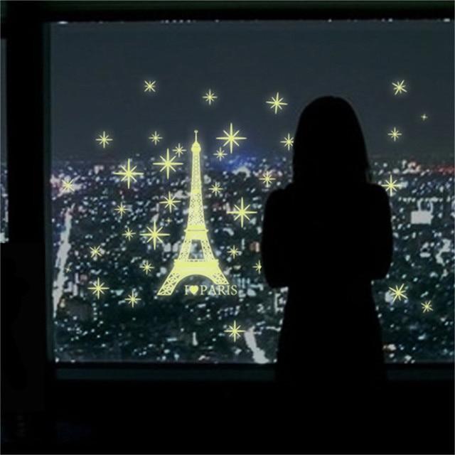 2017 art romantic paris eiffel tower night luminous for Eiffel tower wallpaper mural