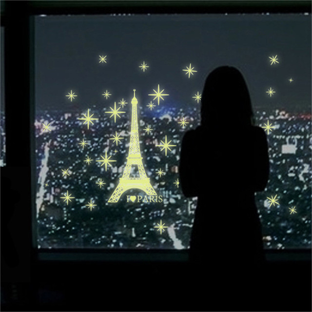 2017 Art Romantic Paris Eiffel Tower Night Luminous Fluorescent Wall Sticker Mural Removable Decal Room Decor DIY Wallpaper