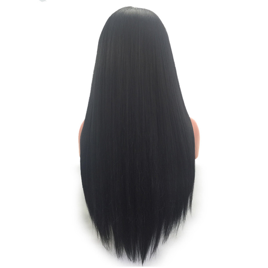 2017 * Human Hair Wigs For Women Long Straight Lace Front Full Wig With Baby Hair classic femal long black wigs with neat bangs synthetic hair wigs for black women african american straight full wigs false hair