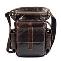 Men's Cowhide Oil Wax Geunine Leather Travel  Motorcycle Messenger Shoulder Hip Belt Fanny Pack Waist Thigh Drop Leg Bag