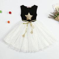 Korean Version Star Pattern Baptism Dress For Baby Girl 3 To 8 Years Old Kids Summer