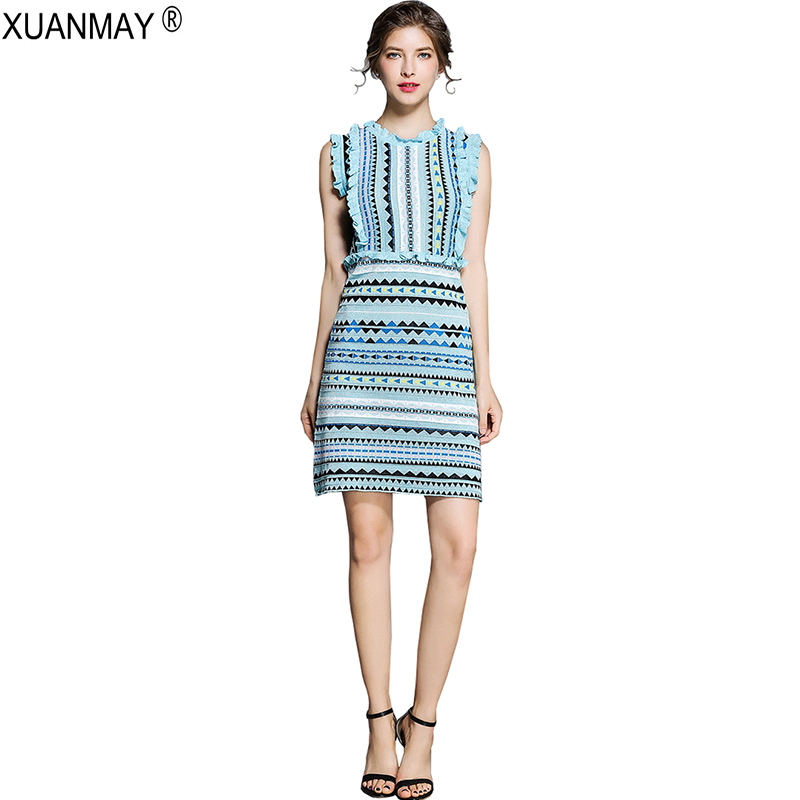 Bohemia Sweater Dress Fashion Streetwear Sky Blue Sweater Dress Summer Stretch Slim Love Pattern Of Knitted Jacquard Knit Dress