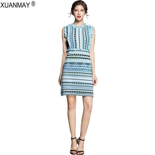 בוהמיה סוודר שמלת אופנה Streetwear שמיים כחול סוודר שמלת קיץ למתוח slim אהבת דפוס של סרוג אקארד לסרוג שמלה