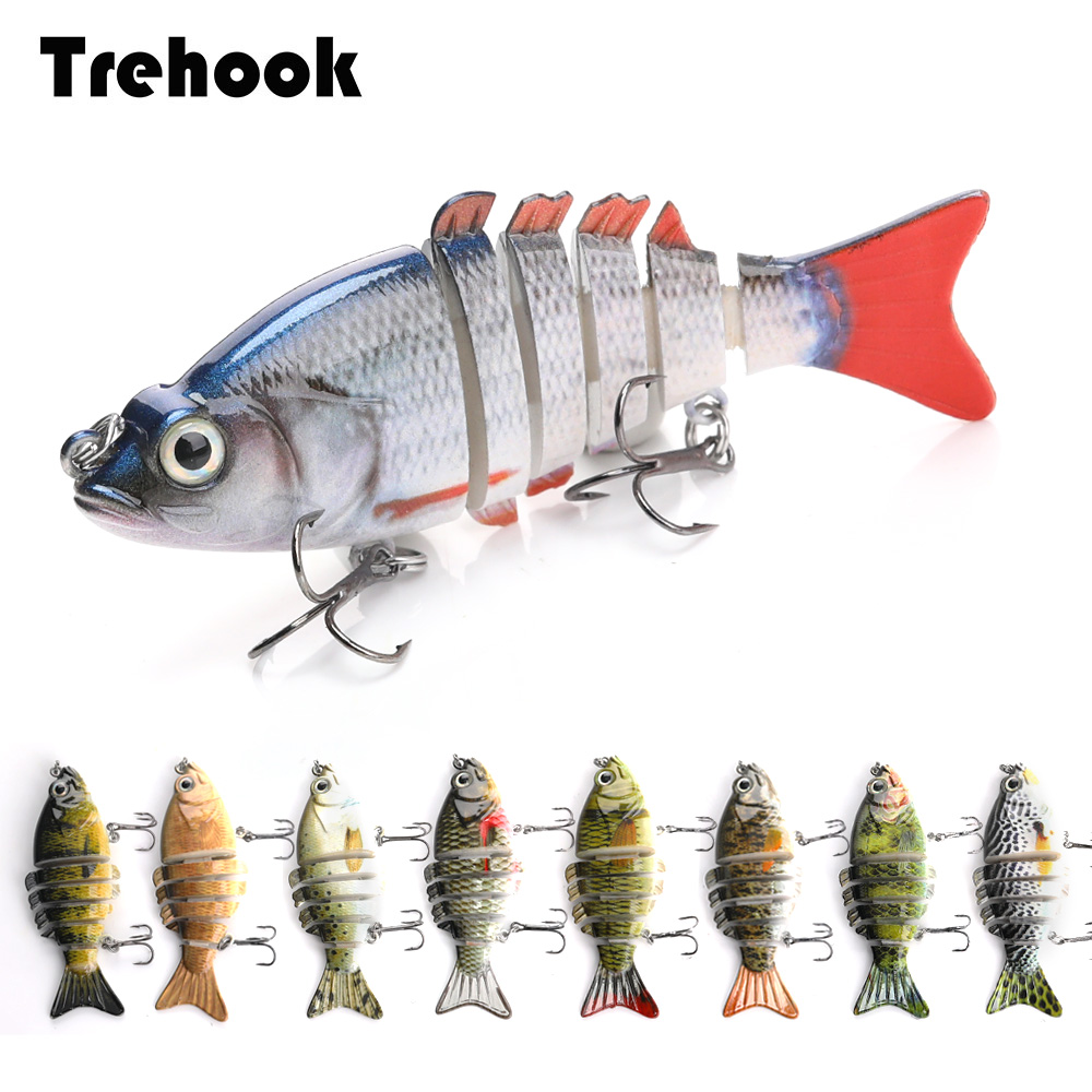 TREHOOK Multi Jointed Hard Bait 8cm 10.8g Lifelike Swimbait Crankbait Fishing Wobblers Artificial 6 Segments Fishing Lure Tackle