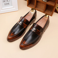 Men Shoes Luxury Brand Patent Leather Burgundy Blue High Quality Handmade Loafers Unique Classic Tialian Flats