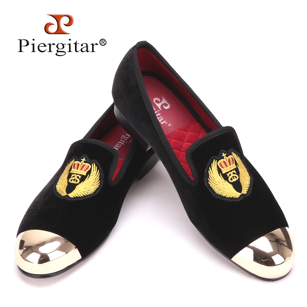 Piergitar 2019 New Style Men Velvet Shoes Metal toe with handwork embroidery Smoking Slipper Mens Flats shoes plus sizePiergitar 2019 New Style Men Velvet Shoes Metal toe with handwork embroidery Smoking Slipper Mens Flats shoes plus size