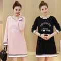 Winter Autumn Casual Maternity Dresses Pregnant Women A line Wave Dress Loose Above Knee With Zipper Clothes MO29