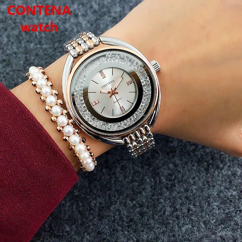 Reloj mujer marca superior contena relógio feminino relógios rosa pulseira de ouro relógio de luxo strass senhoras relógio saat relogio feminino