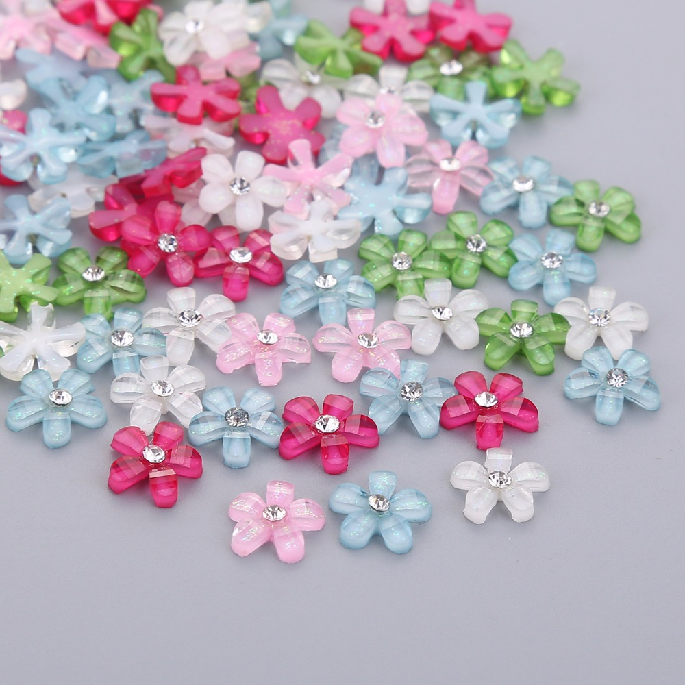 TPSMOC мм 20 шт. 10 мм Симпатичные смолы цветок со стразами flatback кабошон для DIY ювелирных изделий, телефон, ногтей artdecoration бусины craft