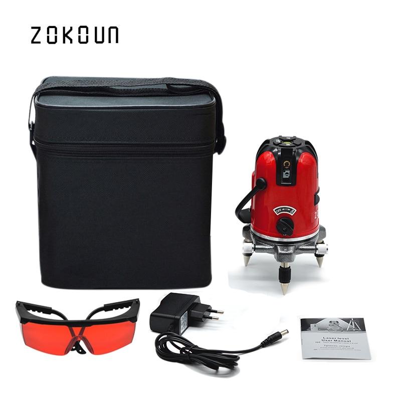 купить EU plug cloth bag ZOKOUN 360 degrees rotary tilt slash functional 5 lines 6 points outdoor mode cross line laser leveler онлайн
