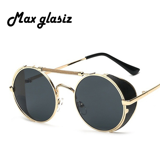 21d11287c6 Max glasiz Men Gothic Sun Glasses Fashion Women Metal Frame Steampunk  Sunglasses Vintage Round Circle Lens