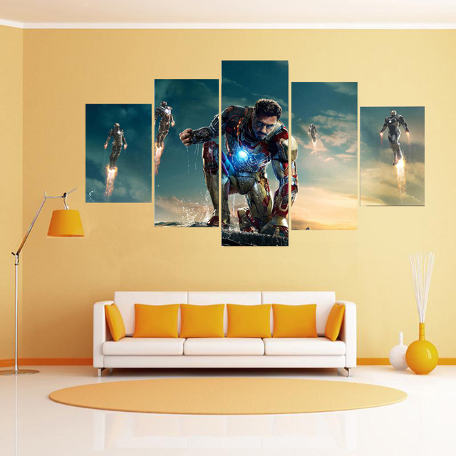 Free shipping 5 Panels oil painting Iron man movie poster Canvas ...